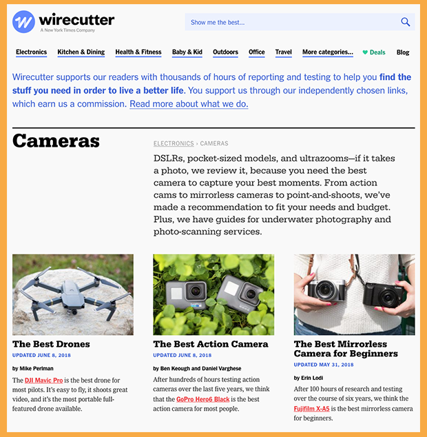 Wirecutter Amazon Affiliate Review Site
