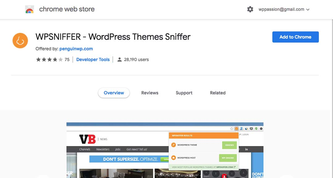 wpSniffer Chrome Extension
