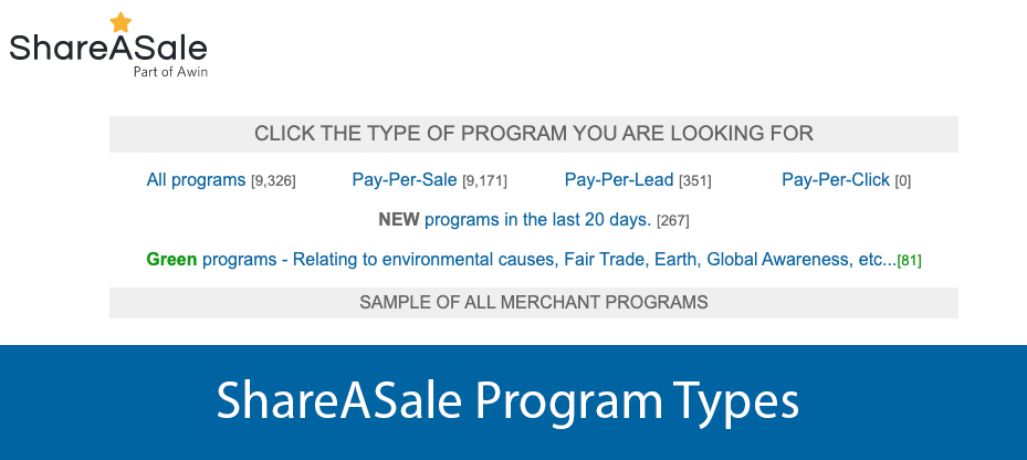 ShareASale Program Types